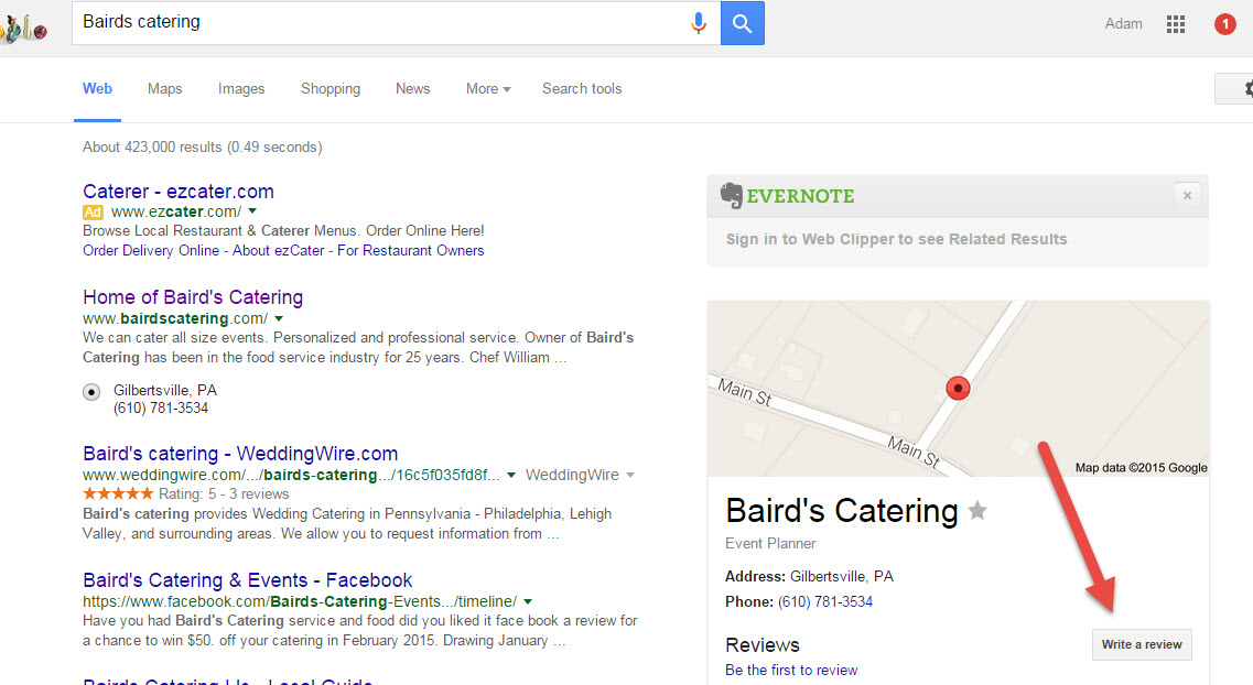 bairds Google screen shot